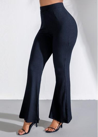Modlily High Waist Navy Blue Flare Pants - L