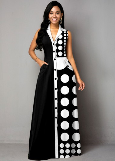 Modlily Button Up Polka Dot Color Block Maxi Dress - S