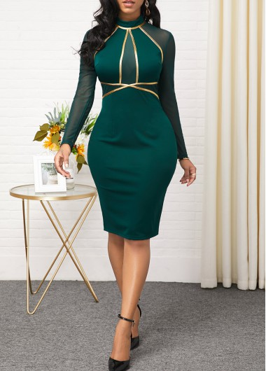 Modlily Christmas Holiday Dress Mesh Panel Long Sleeve Contrast Dress - S