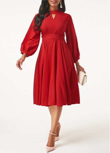 Modlily Christmas Holiday Dress Lantern Sleeve Keyhole Neckline Red Dress - L
