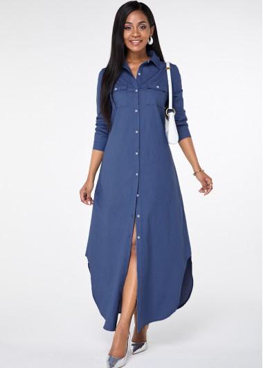 Modlily Button Up Asymmetric Hem Pocket Maxi Dress - L
