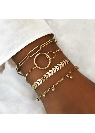 Modlily Layered Gold Metal Chain Bracelet Set - One Size