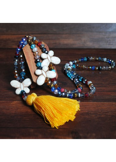 Modlily Yellow Tassel Bead Butterfly Design Necklace - One Size