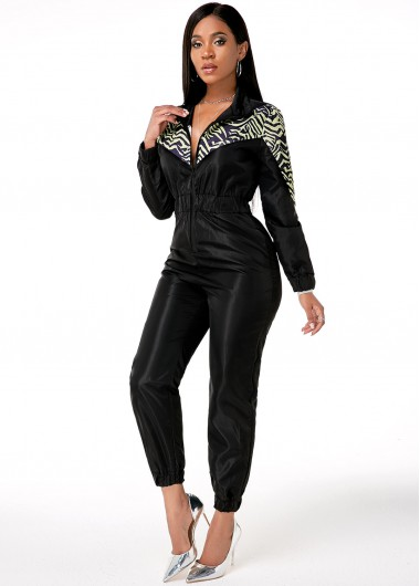 Modlily Zipper Closure Printed Side Pocket Jumpsuit - S