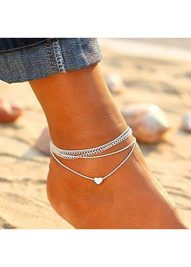 Modlily Heart Shape Silver Metal Anklets for Woman - One Size