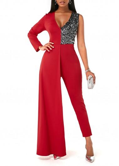 Modlily Sequin Contrast V Neck One Shoulder Jumpsuit - XL
