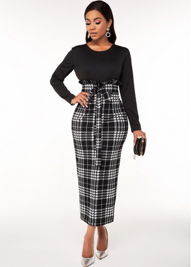 Modlily Belted Houndstooth Print Long Sleeve Dress - M