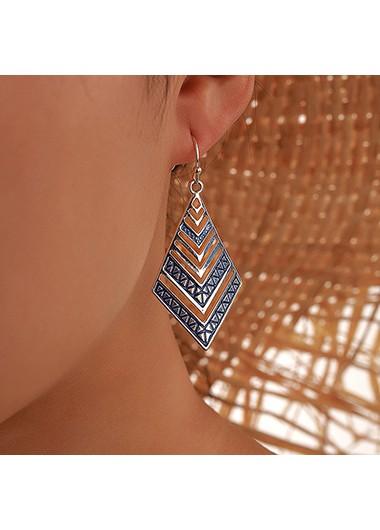 Modlily Rhombus Design Blue Metal Earring Set - One Size