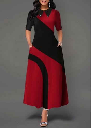Modlily Christmas Holiday Dress Contrast Turndown Collar Side Pocket Maxi Dress - L
