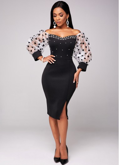 Modlily Beaded Puff Sleeve Polka Dot Dress - XL