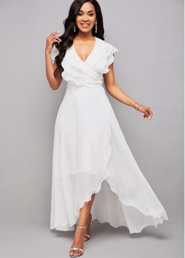 Modlily Asymmetric Hem V Neck Flounce Maxi Dress - M