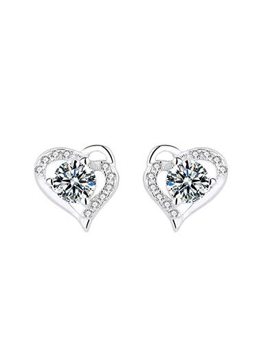 Modlily 0.4 X 0.4 Inch Silver Heart Rhinestone Ear Studs - One Size