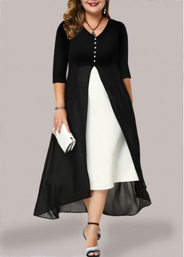 Modlily Plus Size Dress Chiffon Panel Dress V Neck Dress Button Front Dress Color Block Dress Maxi Dress - 2X