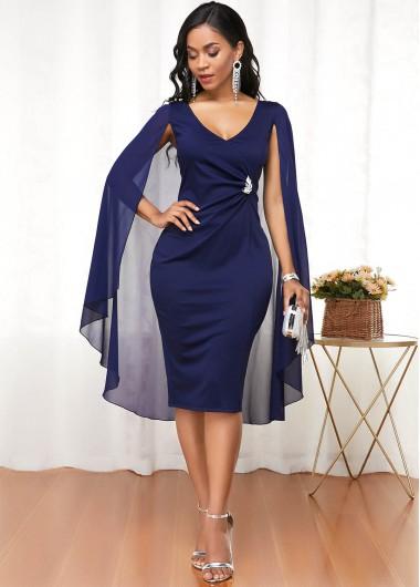 Modlily Plus Size V Neck Long Sleeve Cape Dress - 2X