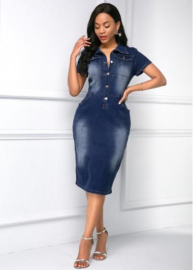 Modlily Button Up Side Pocket Turndown Collar Denim Dress - S