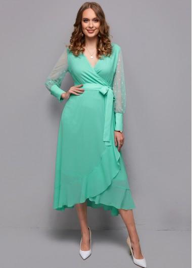 Modlily Belted Mesh Stitching Flounce Wrap Dress - XL