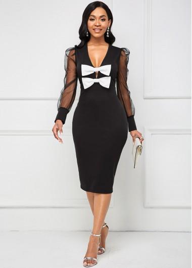 Modlily Bowknot V Neck Mesh Long Sleeve Dress - XL