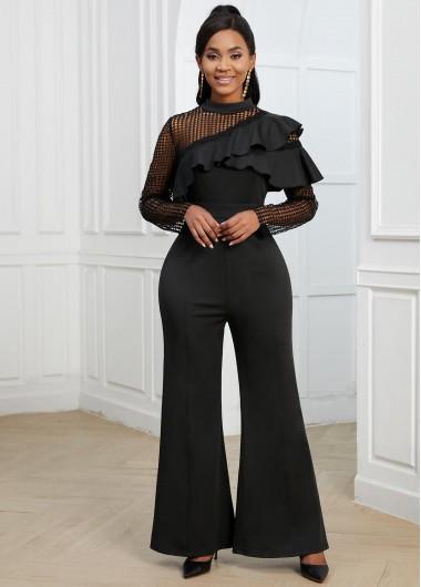Modlily Flounce Lace Stitching Black Long Sleeve Jumpsuit - XXL
