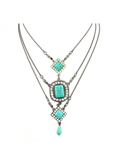 Modlily Tribal Square Turquoise Pendant Water Drop Layered Necklace - One Size