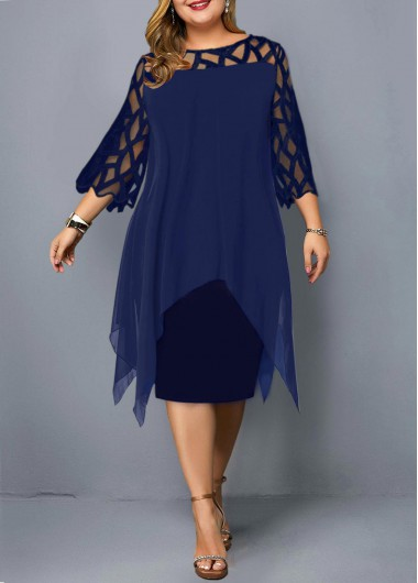 Modlily Plus Size Mesh Stitching Asymmetric Hem Dress - 2X