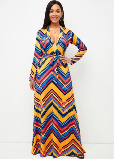Modlily Belted V Neck Geometric Print Dress - L
