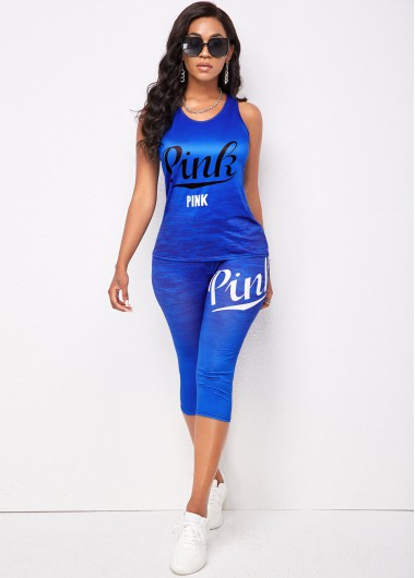Modlily Letter Print Blue Wide Strap Sweatsuit - L