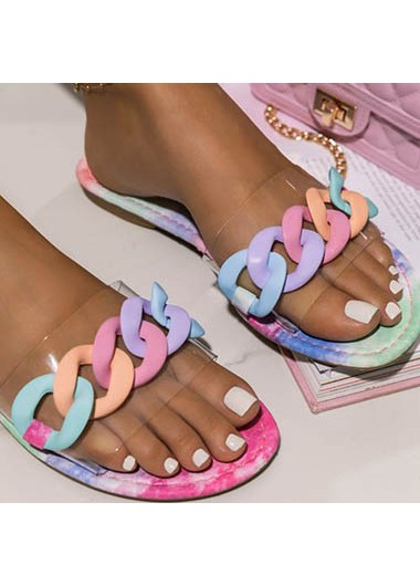 Modlily 1 Pair Rainbow Color Chain Design Slippers - 37