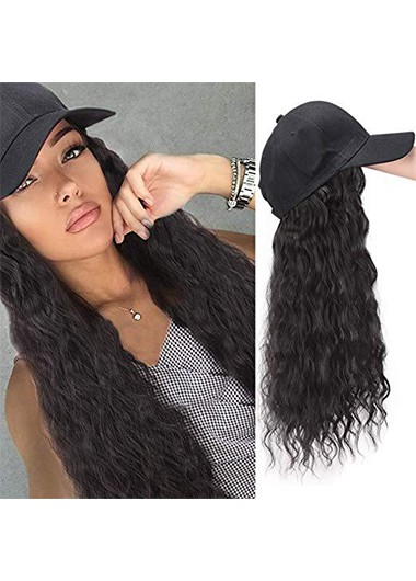 Modlily Black Wave Hat Integrated Wig for Women - One Size