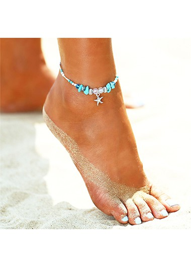 Modlily Starfish and Conch Design Turquoise Detail Anklet - One Size
