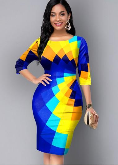 Modlily 3/4 Sleeve Round Neck Geometric Print Dress - M