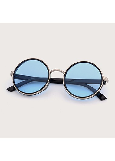 Modlily 1 Pair Blue Round Frame TR and Metal Sunglasses - One Size
