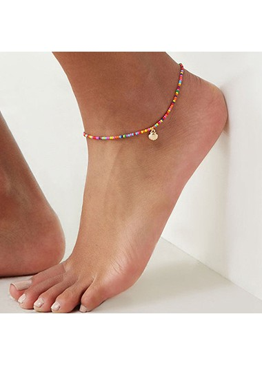 Modlily Colorful Beads Shell Detail Metal Anklet - One Size