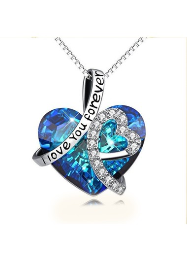 Modlily Heart Rhinestone Design Letter Detail Necklace - One Size