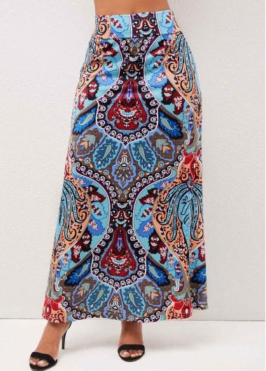 Modlily Tribal Print High Waist Multi Color Skirt - L