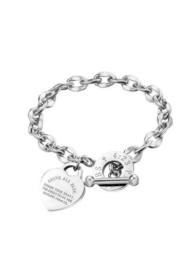 Modlily Curb Chain Design Letter Detail Silver Bracelet - One Size