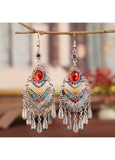 Modlily Tribal Design Rhinestone Detail Tassel Earring Set - One Size