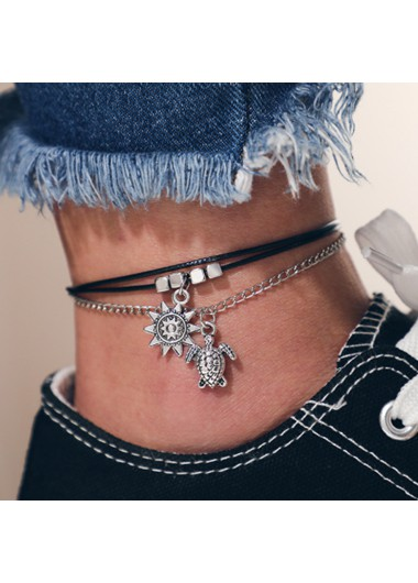 Modlily Sun and Turtle Design Metal Detail Anklet - One Size