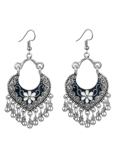 Modlily Heart Design Metal Detail Earring Set - One Size