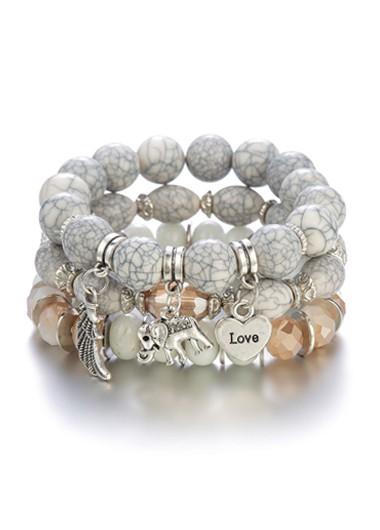 Modlily Layered Elephant Design Acrylic Detail Bracelets - One Size