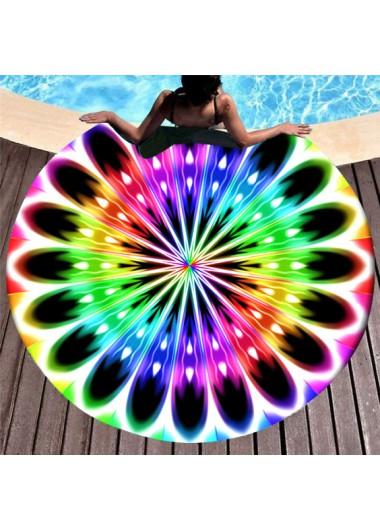 Modlily Rainbow Color Printed Circular Design Beach Blanket - One Size