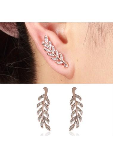 Modlily Feathers Shape Rhinestone Pink Earrings - One Size