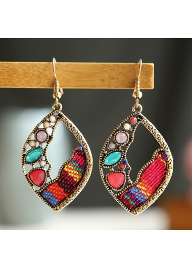 Modlily Leaf Shape Multi Color Metal Earrings - One Size