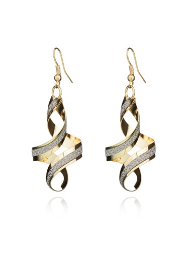 Modlily Spiral Design Gold Crystal Detail Earring Set - One Size