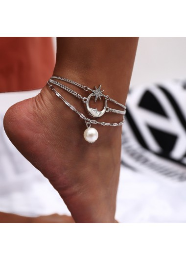 Modlily Moon and Star Pendant Pearl Design Anklet - One Size