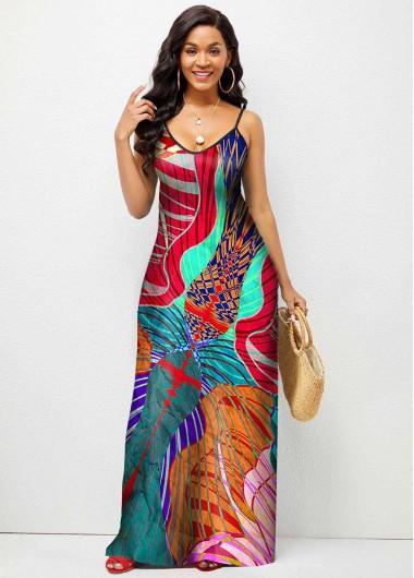 Modlily Abstract Print Spaghetti Strap Maxi Dress - XL