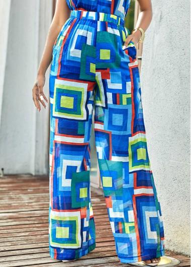 Modlily Geometric Print High Waisted Loose Pants - M