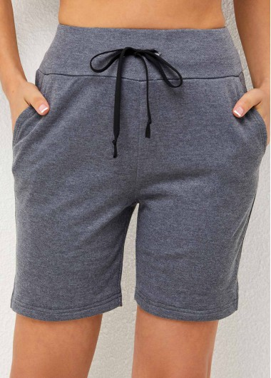 Modlily Double Pocket High Waisted Grey Pants - XL