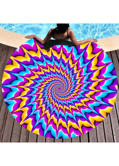 Modlily Colorful Printed Circular Design Beach Blanket - One Size