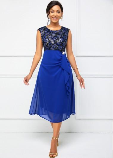 Modlily Cap Sleeve Lace Stitching Flounce Dress - XL