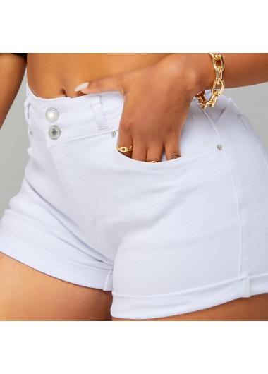 Modlily Mid Waist Skinny Pocket Button Detail Shorts - L